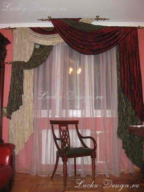 Элитные шторы для интерьера с антикварной мебелью