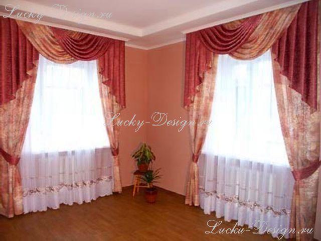 шторы с ламбрекенами галстук классический