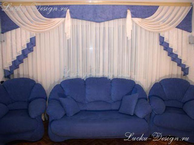 Тюль и шторы для зала.  640x480www.lucky-design.ru - Оформление окон