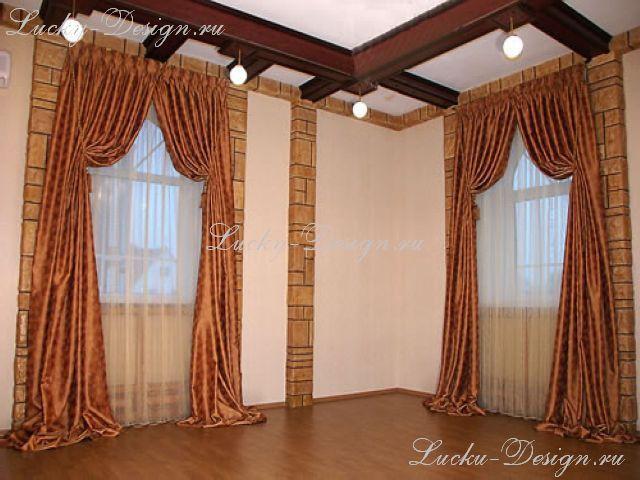 Шторы на окна комнаты в стиле кантри