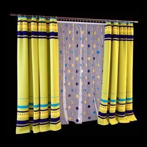 Пёстрые шторы, сочетающие в оформлении текстиля яркие оттенки лайма, бирюзы, индиго и лазури гармонично сочетаются с ярким декором белоснежной широкой гардины. Задорный комплект штор крепится на металлический двухрядный карниз, декорированный наконечником цилиндр. Такой вариант оформления может использоваться в комнате подростка, на кухне или в столовой современного стиля.