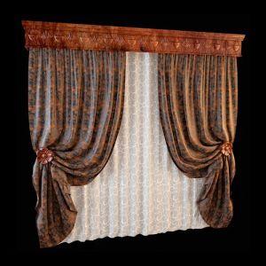 Секрет гармоничного оформления комплекта из плотных светонепроницаемых штор и узорчатой белоснежной занавески в единстве стиля и удачном сочетании оттенков. Флоральный орнамент, используемый в декоре резного деревянного карниза, повторяется и в оформлении держателей штор. Насыщенный оттенок тонировки деревянных элементов оформления встречается и в расцветке портьерной ткани.