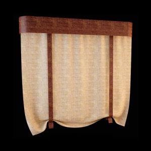 Плоская штора (модель известна также как лондонская) сшита из мягкой пластичной ткани, достаточно плотной для образования объёмной гирлянды в поднятом положении. Сочетание золотистых оттенков карамели основной шторы и насыщенного коричневого в расцветке бандо безупречно, как и тандем текстиля одинаковой текстуры, имитирующей разнофактурную поверхность льняного полотна.