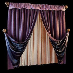 Удивительные нюансы цветовых комбинаций порадуют ценителей классических решений в оформлении. Простые кроем портьеры двухслойны, что способствует образованию красивого рисунка мягких складок. Лицевая сторона выполнена из потрясающей ворсовой ткани пурпурного оттенка, а подклад из шёлка цвета индиго. Дополняет цветовой тандем изящная штора из тонкого шёлка, глубокий жемчужный оттенок её перекликается с позолотой держателей.
