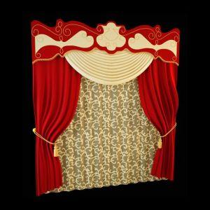 В комплекте штор из багряного шёлка, в центре внимания двухцветный ламбрекен сложной конструкции. Он выполнен на жёсткой основе бандо, фигурный край его подчёркнут золотом бахромы, того же оттенка шнур с пышной кистью применяется в качестве подхватов. Дополнение бандо нарядным свагом привносит торжественность в оформление. Стилизованный растительный рисунок ажура гардины и завитки декоративных элементов наталкивают на мысль о причастности такого убранства к оформлению в стиле арт нуво.