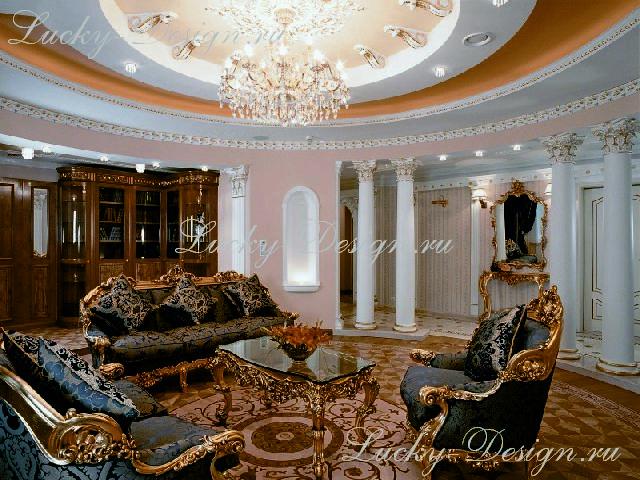 портьеры в интерьере стиля барокко