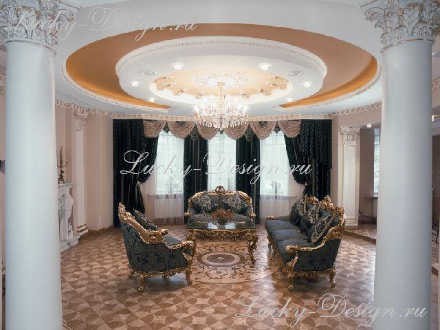 шторы в зале стиля барокко
